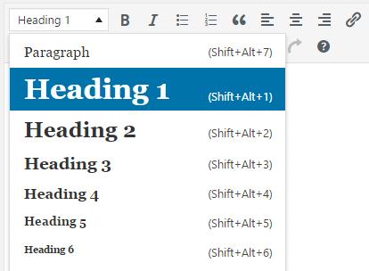 Wordpress Page Headings