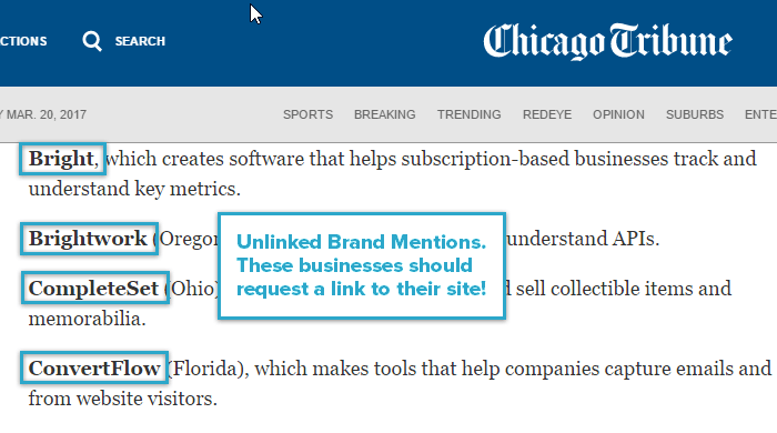 Unlinked Brand Mention Example