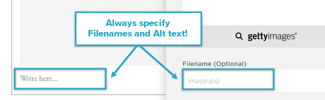 Always specify Filenames and Alt text!