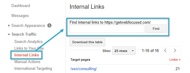 Find internal links via Google Search Console
