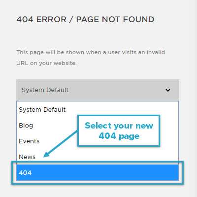 Select your new 404 page