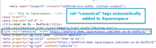 "rel=""canonical"" tags automatically added to Squarespace"