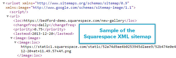 Sample of the Squarespace XML sitemap