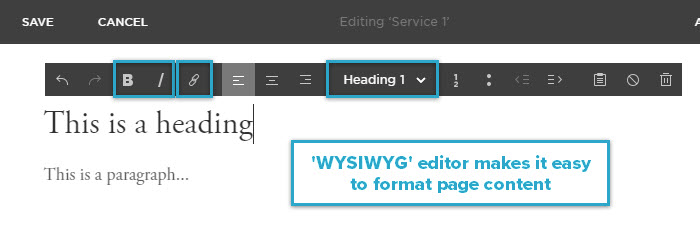 WYSIWYG editor makes it easy to format content